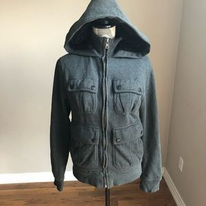 Women's grey zip up furry lined hooded jacket XS